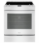 Whirlpool White Front Control Electric Stove with Fan Convection 6.2 cu. ft Slide in Range WEE730H0DW