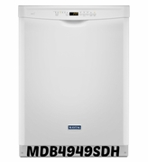 WHITE MAYTAG DISHWASHER WITH LARGE CAPACITY STAINLESS TUB MDB4949SDH ENERGY STAR