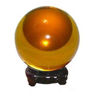 "3"" (80mm) Pure Quartz Crystal Ball with Wood Stand - Amber"