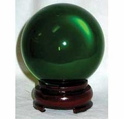 "3"" (80mm) Pure Quartz Crystal Ball with Wood Stand - Green"