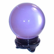 "3"" (80mm) Pure Quartz Crystal Ball with Wood Stand - Lavender"