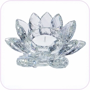 "Clear Crystal Lotus 5"" Candle Holder"