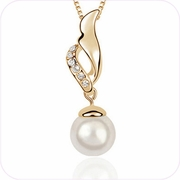 Golden Treasures Pearl Pendant Necklace #22890