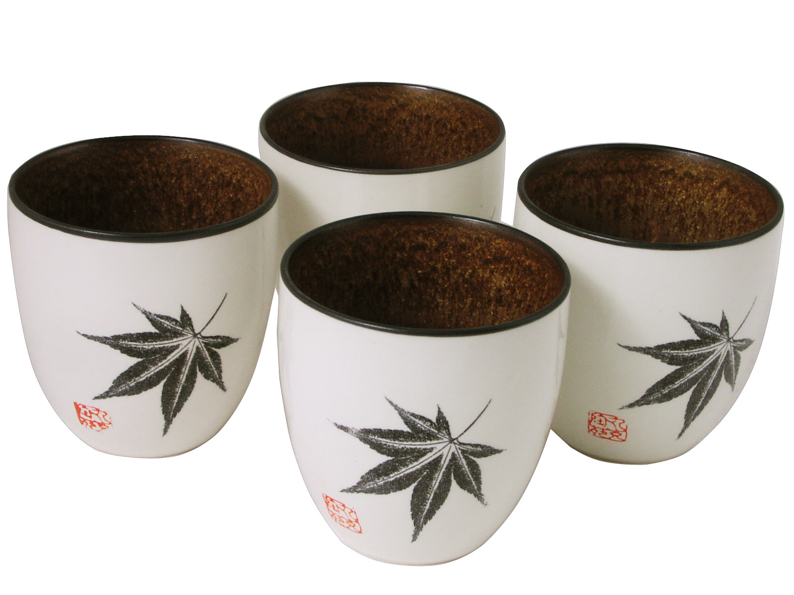 Amber Glow Japanese Maple Oriental Tea Cups Set For Four