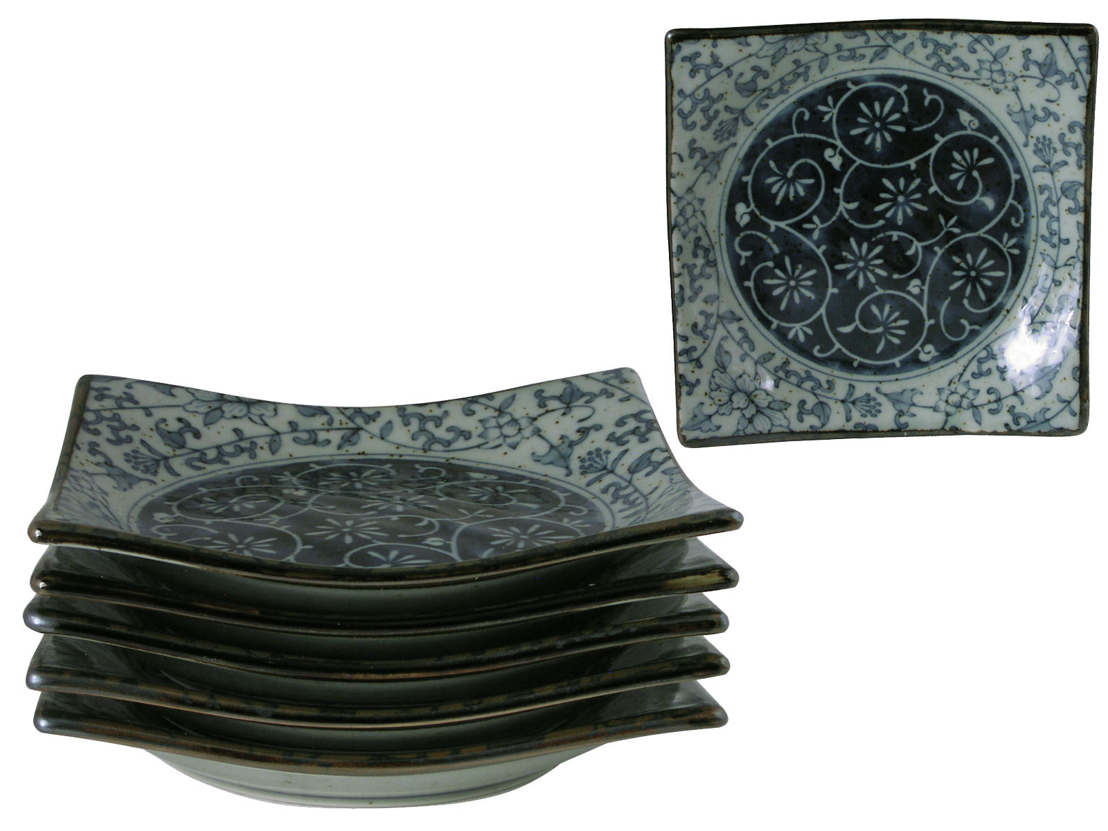 Rustic Dark Green, Blue and Cream Oriental Dinnerware ...