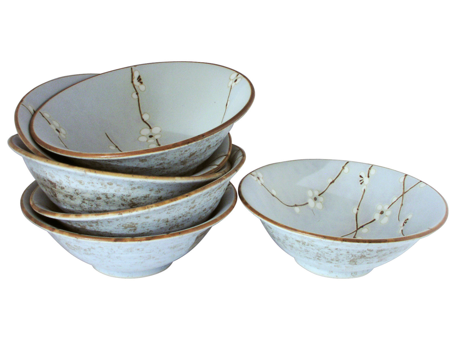 Cherry Blossom On Blue Shallow Japanese Ceramic Bowls Set