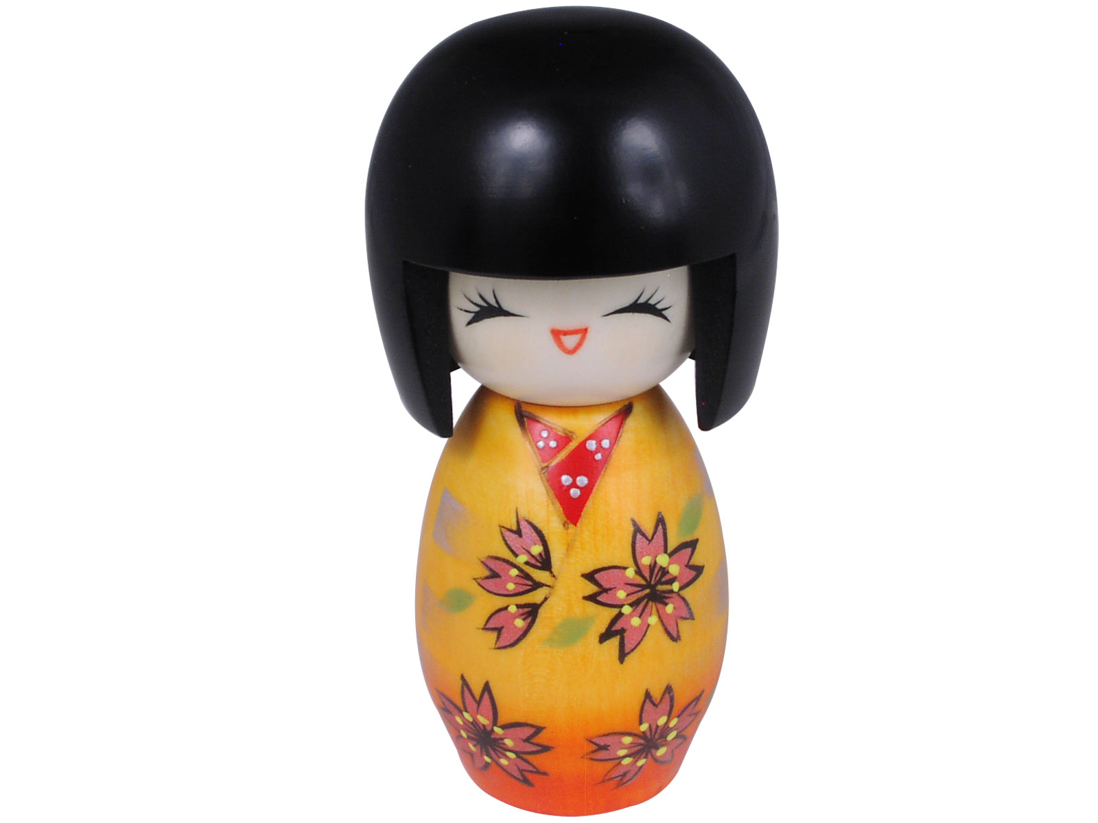 Laughing and Festive Orange Yukata with Cherry Blossoms Kokeshi Doll