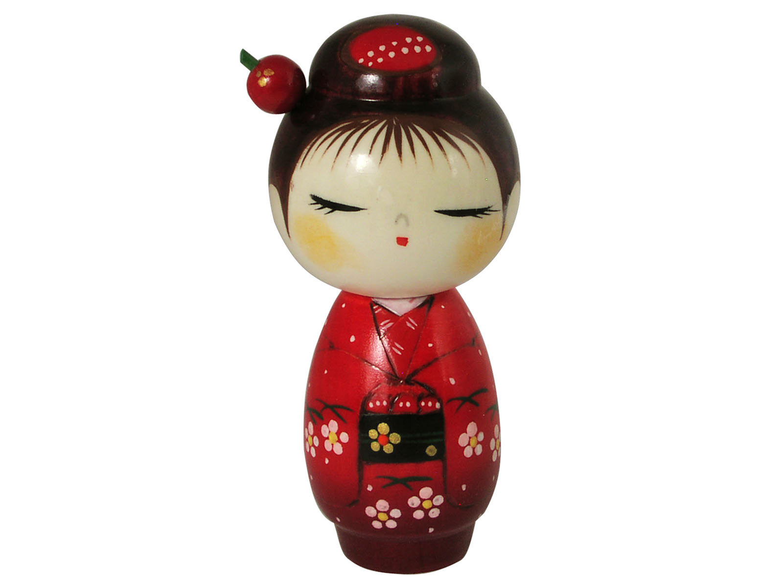 Lovely Red Cherry Blossom Kimono Traditional Japanese Doll