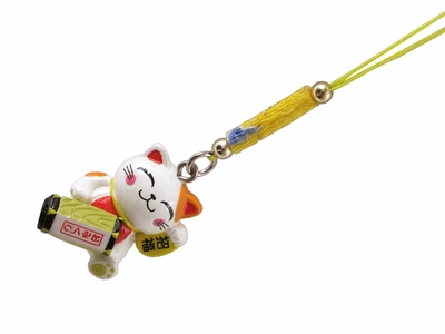 Lucky Cat or Maneki Neko Charm with Fortune Box