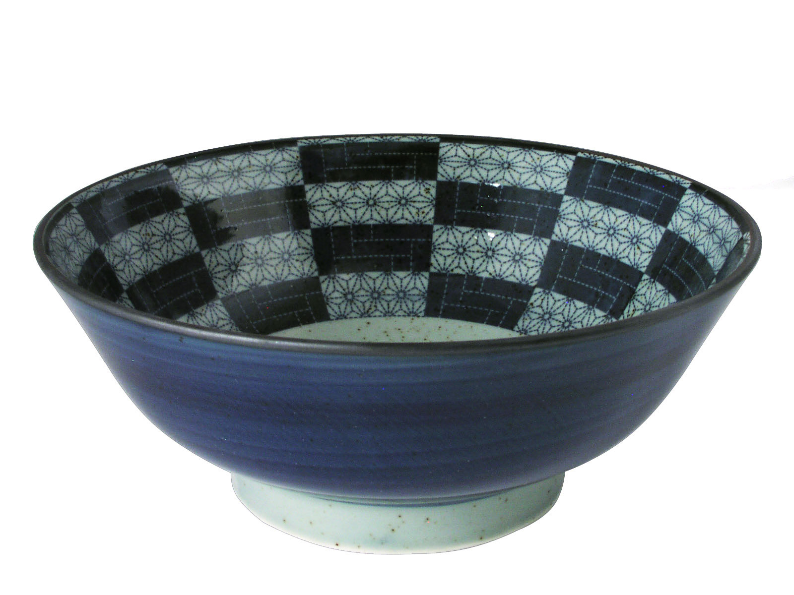 Navy Blue And Pale Green Floral Patchwork Japanese Noodle Bowl
