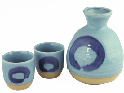 Pale Blue Sky Enso Japanese Sake Gift Set for Two