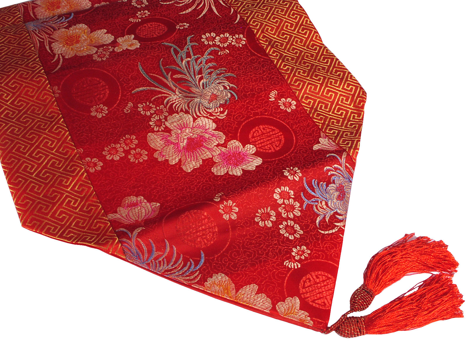 Motif synonym Gold Runner Arrivals and New > Lucky Chinese  Table Floral table runner Red