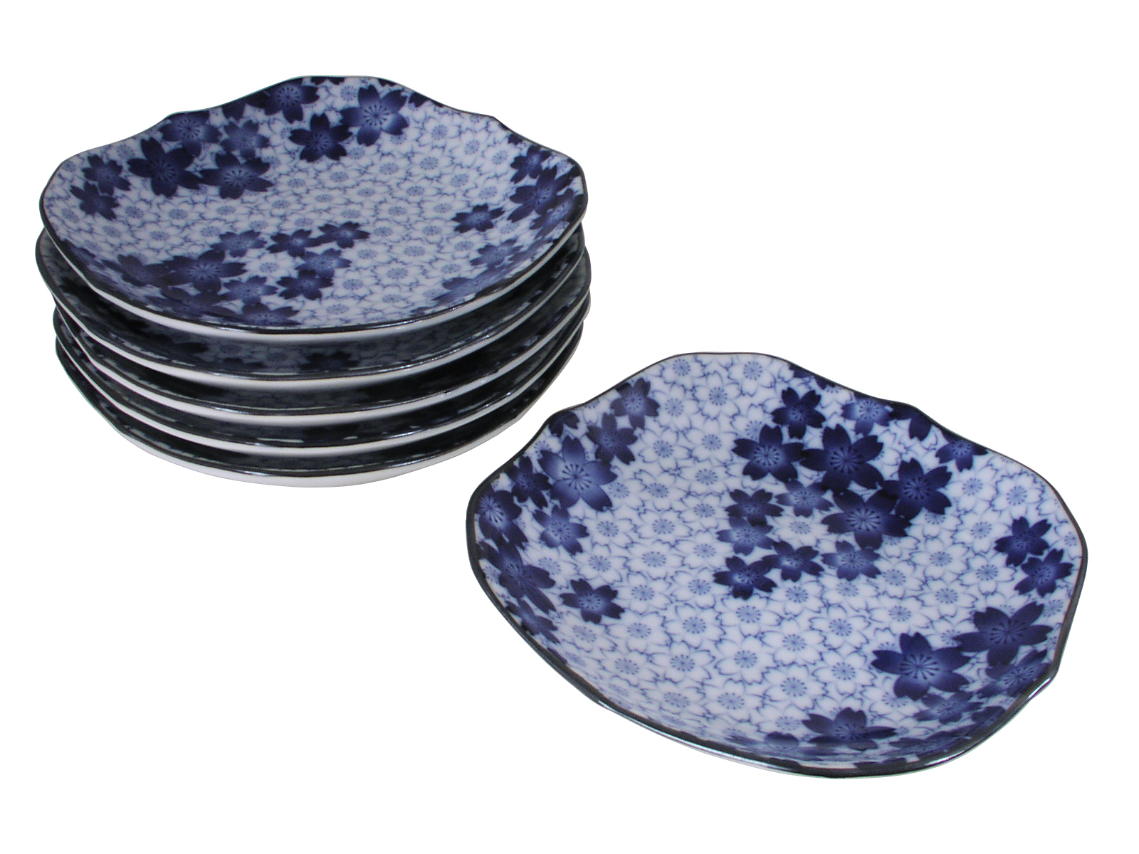Royal blue sakura blue and white dinnerware plate set for six 4