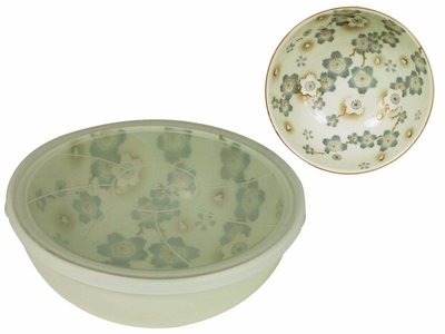 Season of Cherry Blossoms Pale Green Small Ramen Bowl with Lid