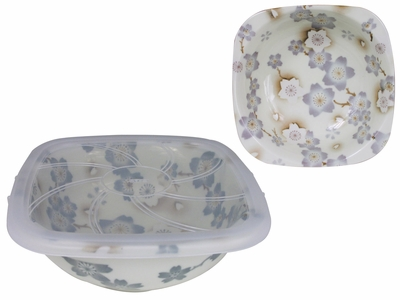 Season of Cherry Blossoms Pale Purple Small Square Top Ceramic Bowl with Plastic Lid