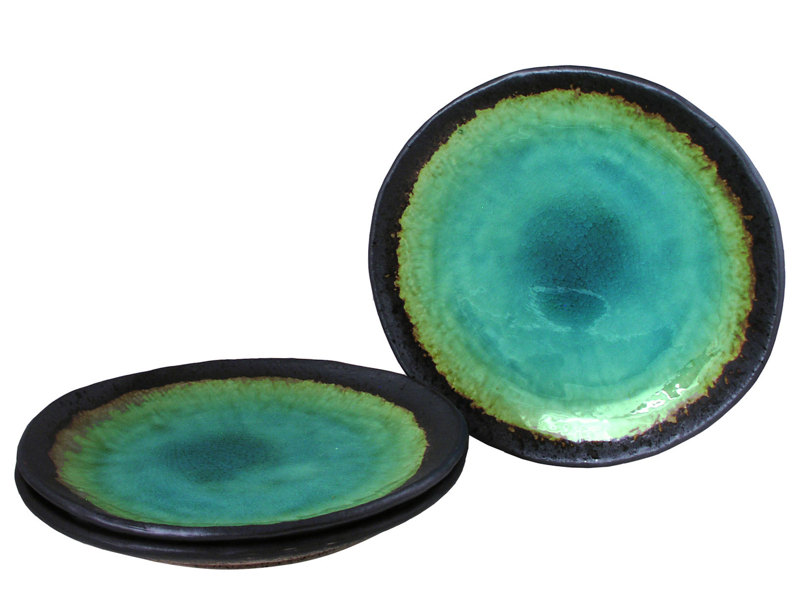 ... Sets > Turquoise Sky and Earth Japanese Ceramic Dishes Set for Three