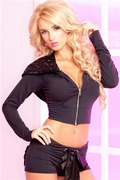 Pink Lipstick Sparkle Sequin Cropped Hoodie , Small