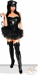 4 PC Black Sequin Pin-Up Cop Costume - IN STOCK