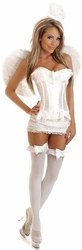 4 PC Burlesque Angel Corset Costume (IN STOCK)