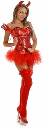 4 PC Pin-Up Sequin Devil Costume (IN STOCK)
