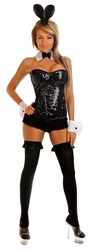 4 PC Sequin Pin-Up Bunny Costume (IN STOCK)