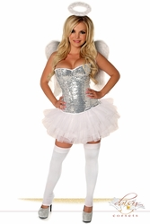 4 PC Silver Sequin Angel Costume - IN STOCK