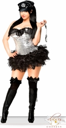 4 PC Silver Sequin Pin-Up Cop Costume (IN STOCK)