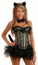 5 PC Burlesque Leopard Corset Costume (IN STOCK)