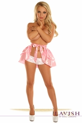 Baby Pink Satin Layered Ruffle Skirt - IN STOCK
