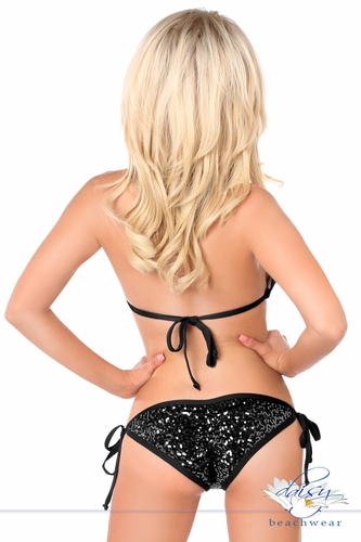 Black Sequin & Rhinestones Pucker Back Bikini