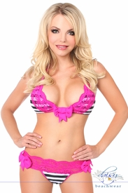 Black/White Stripe Pucker Back Bikini w/Fuchsia Lace Trim