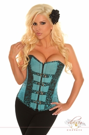 Blue Buckled Brocade Steel Boned Corset Top