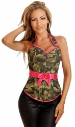 Camouflage Halter Pin-Up Burlesque Corset Top - IN STOCK