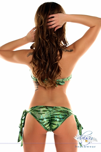 Green Reptile Pucker Back Bikini
