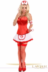 Lavish 5 PC Pin-Up Nurse Corset Costume - IN STOCK