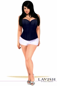 Lavish Navy Blue Sweetheart Front Zipper Corset