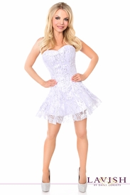 Lavish White/Silver Lace Corset Dress