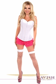 Lavish White Sweetheart Front Zipper Corset