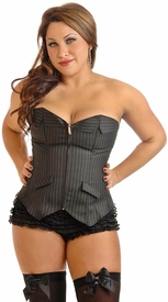 "Plus Size ""Board Room Babe"" Pinstripe Corset"
