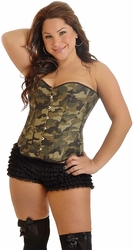 "Plus Size ""Camo Queen"" Burlesque Corset"