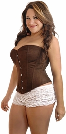 Plus Size Chocolate Suede Corset