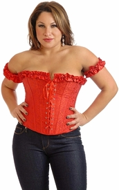 Plus Size Embroidered Peasant Top Corset Top