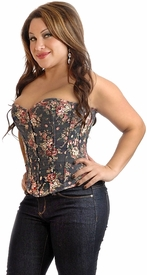 Plus Size Floral Fantasy Burlesque Corset Top