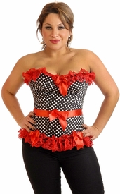 Plus Size Pin-Up Rockabilly Polka Dot Corset Top
