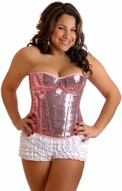 Plus Size Sequin Underwire Zipper Corset