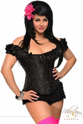 Plus Size Steel Boned Embroidered Peasant Top Corset