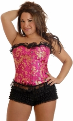 Plus Size Strapless Ruffled Brocade Corset