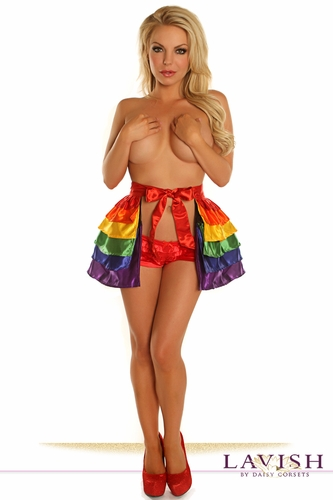 Rainbow Satin Layered Ruffle Skirt - IN STOCK