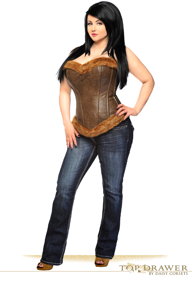 624b6b6c8 Top Drawer Steel Boned Faux Leather Fur Trimmed Corset Top