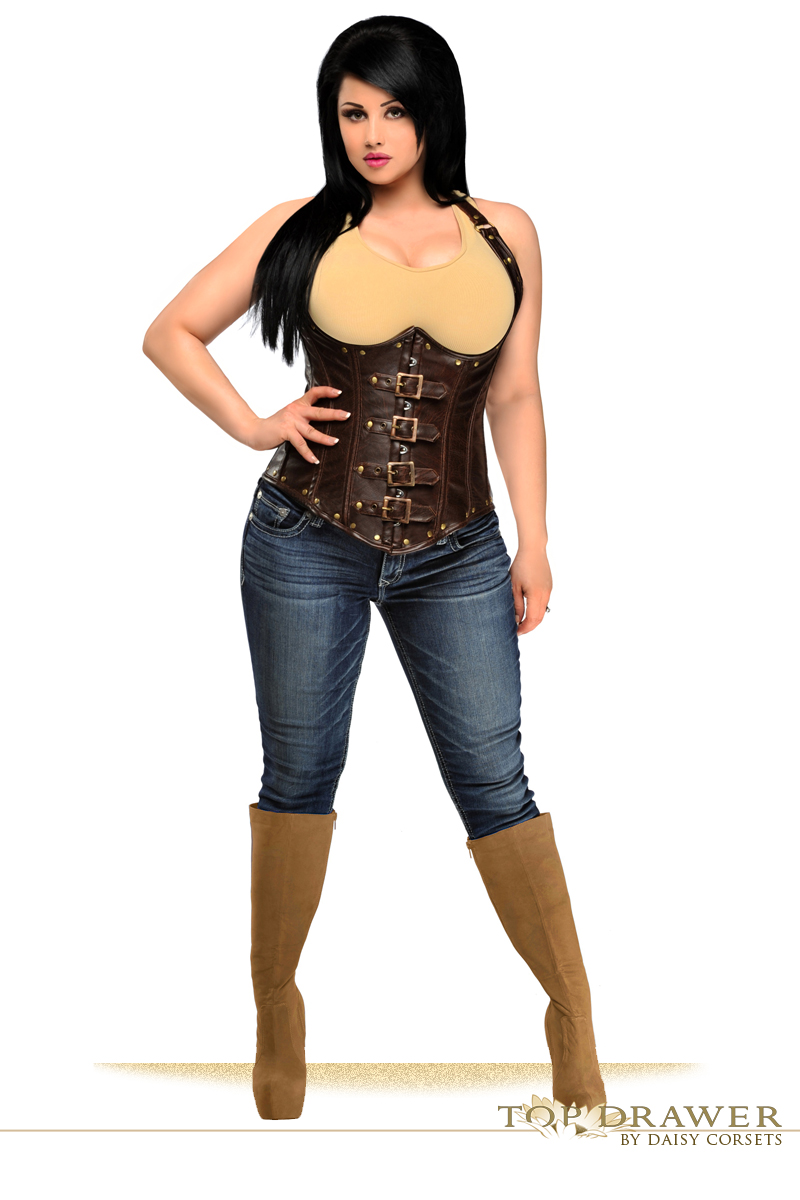 4749cac19 Top Drawer Steel Boned Distressed Faux Leather Underbust Corset Top